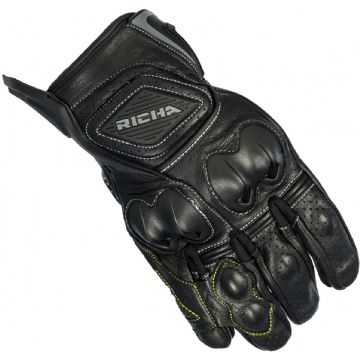 Richa Indy Short Motorcycle Gloves With Knuckle Panel Reinforced Stiching Black